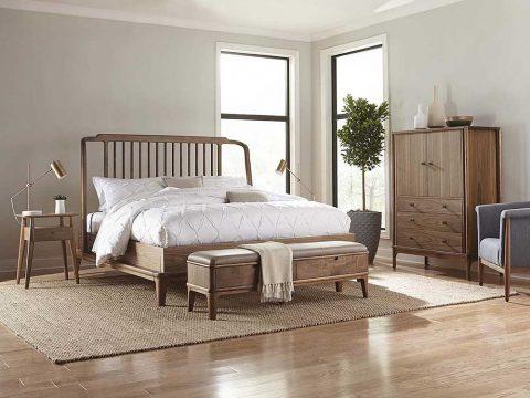 Đôn chân giường gỗ óc chó